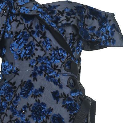 velvet flower motive wrap dress